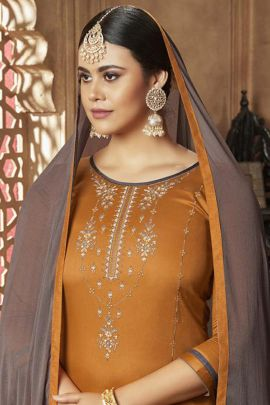 A Set Of Cotton Silk Embroidered Knee Length Indo Western Suit With Dupatta Bunch