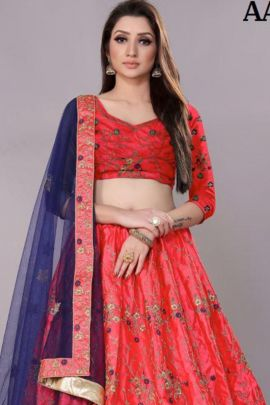 A Set Of Fancy Fabric Stylish Embroidered Designer Lehenga Choli With Dupatta Bunch