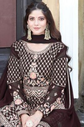 A Set Of Georgette Embroidered Event Wear Your Choice Pakistani Suit With Dupatta Bunch