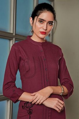 A Set Of Imported Embroidered Daily Wear Knee Length Kurti Bunch