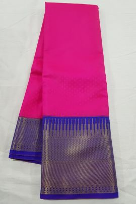 A Set Of Kanchipuram Blended Korvai Silk Saree With Blouse Piece Bunch
