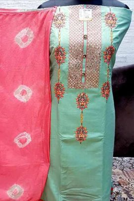 A Set Of Satin Embroidery Work Event Wear Dress With Dupatta By Raheja