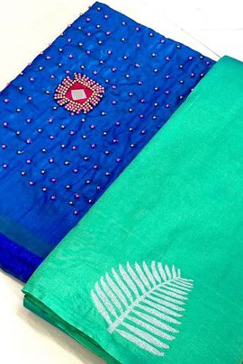 A Set Of Silk Embroidered Printed Festive Wear Manju Collection Saree With Blouse Piece Bunch