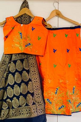 A Set Of Silk Embroidery Work Stylish Kids Wear Lehenga Choli With Dupatta Bunch