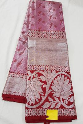 A Set Of Stylish Handloom Tissue Silk South Indian Style Saree With Blouse Piece Bunch