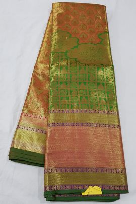 A Set Of Stylish Handloom Tissue Silk South Indian Style Saree With Blouse Piece Collection