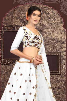 A Set Of Wedding Wear Banglori Satin Embroidery Work Lehenga Choli With Dupatta