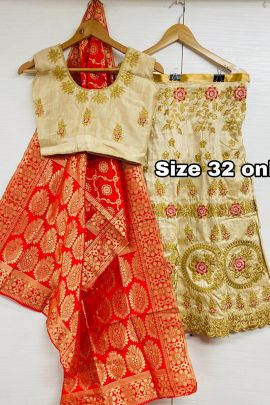 A Set Of Wedding Wear Satin Silk Embroidery Work Kids Lehenga Choli With Dupatta