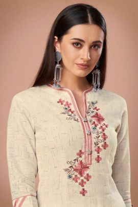 Bulk Elegant Embroidery Office Wear Cotton Kurti By Arihant Designer