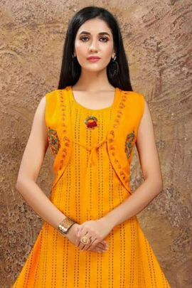 Bulk Festive Silk Kurti With Block Print And Hand Work By Kirtan