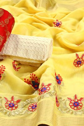Bulk Linen Embroidery Saree With Double Blouse Piece By Saibaba Textile