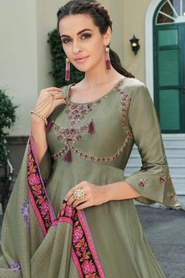 Bulk Occasional Wear Embroided Silk Anarkali Suit With Dupatta Set
