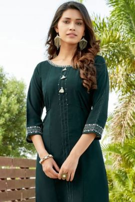 Bulk Rayon Embroidery Hand Worked Casual Kurti By Wooglee