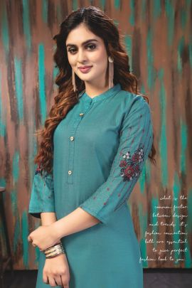 Bulk Rayon Stand Collar Embroidered Kurti With Plazzo By Wanna