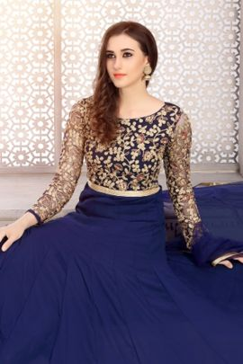Bunch Event Wear Embroided Faux Georgette Anarkali Suit With Dupatta Set