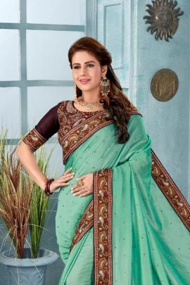 Bunch Event Wear Lace Work Nari Fashion Two Tone Silk Saree With Blouse Piece Set