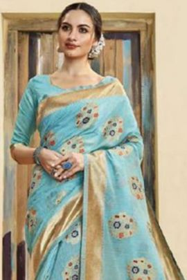 Bunch Of 6 Ethnic Fancy Style Weaved Silk Saree With Blouse Set