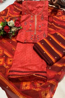 Bunch Of 7 Occasional Stylish Wear Embroidery Cotton Salwar Suit