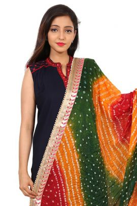 Bunch Of 8 Casual Daily Wear Bandhani Printed Silk Dupatta At Bulk Rates