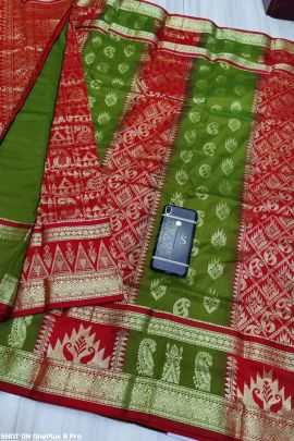 Bunch Of Art Silk Weaved Saree With Patli Pallu By Cotton SNT