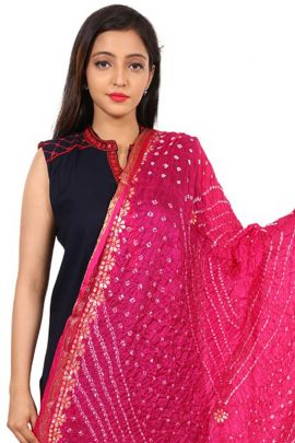 Bunch Of Casual Daily Wear Printed Bandhani Silk Dupatta At Factory Rates