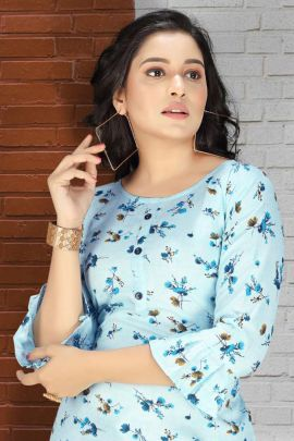 Bunch Of College Wear Rayon Printed Tops By SS Kurtis