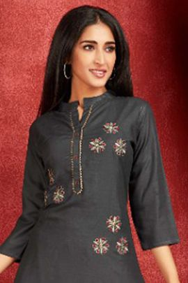 Bunch Of Fancy Festive Wear Embroidery Rayon Kurti With Sharara Set