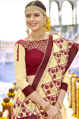 Bunch Of Heavy Embroidery Silk Wedding Special Saree By Kalista
