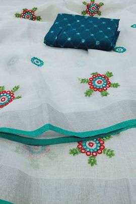 Bunch Of Linen Saree With Mirror And Embroidery Work By Desney Fashion