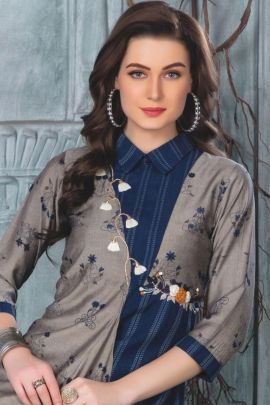 Bunch Of Rayon Embroidery Fancy Kurti With Bottom By Wanna