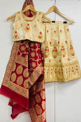 Bunch Of Wedding Wear Banarasi Silk Embroidered Kids Lehenga Collection