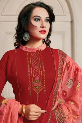 Bunch Punjabi Style Embroided Rayon Patiyala Salwar Suit With Dupatta Set