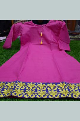 Bundle Of Daily Wear Cotton Kurti With Work on Bottom Patta Collection