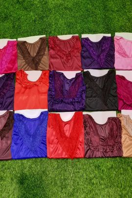 Bundle Of Night Wear Satin Nighties With Broad Lace On Neck