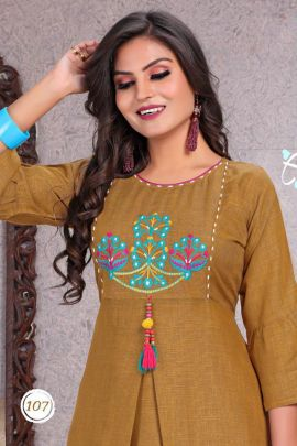 Collection Of A Line Rayon Embroidery Casual Kurti By Trendy