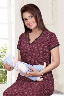 Collection Of Comfortable Printed Hosiery Short Feeding Maternity Gown By Trendy