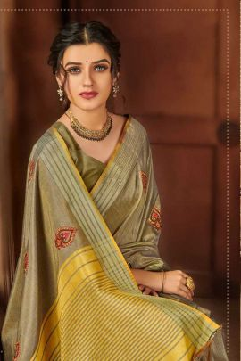 Collection Of Event Wear Embroidery Butta Work Silk Saree By Saroj