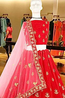 Collection Of Party Wear Embroidered Velvet Lehenga By Mahavir Fashion Kids