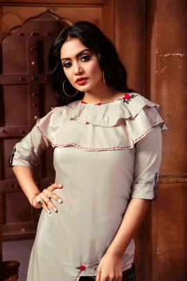 Collection Of Rayon Stylish Event Wear Kurti With Bottom By Wanna