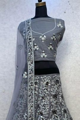 Collection Of Wedding Wear Net Embroidered And Sequins Lehenga Choli By T R