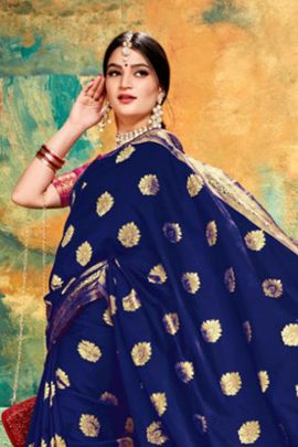 Combo Pack Of 6 Casual Wear Weaved Silk Saree By London Beauty