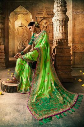 Wholesale Sarees In Surat Wholesale Wedding Wear Silk Embroidery Work Saree With Blouse Piece