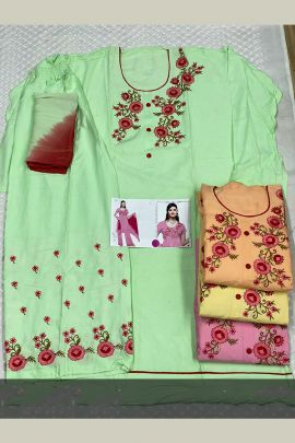 Pack Of Casual Wear Embroidered Cotton K Anuj Salwar Suit With Dupatta Bunch