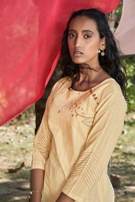 Pack Of Casual Wear Embroidery Work Cotton Four Button Kurti With Pant