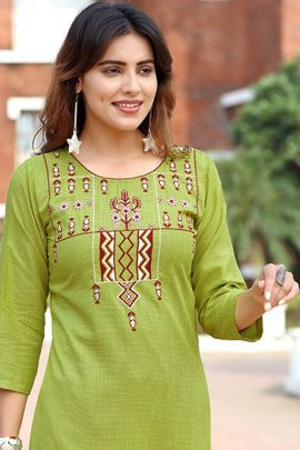 Pack Of Casual Wear Embroidery Work Cotton Kurti With Pant By Arion