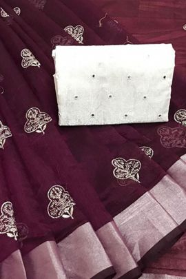 Pack Of Casual Wear Embroidery Work Linen Cotton Saree By JK Series