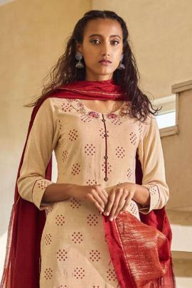 Pack Of Casual Wear Embroidery Work Two Tone Silk Four Button Salwar Suit