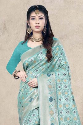 Pack Of Ethnic Desi Style Weaved Silk Saree With Tassels On Border