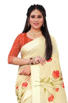 Pack Of Ethnic Event Wear Printed Linen Slub Saree With Blouse