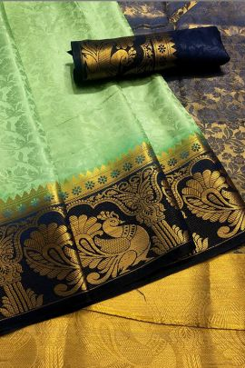 Pack Of Ethnic Occasional Wear Cotton Silk Weaved Saree And Blouse